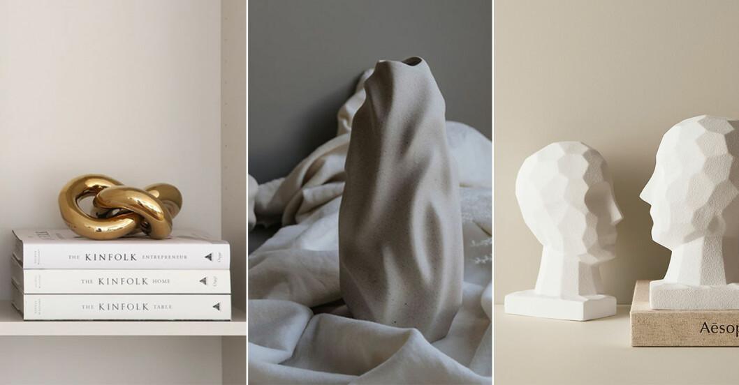 trendigt skulpturala inredningsdetaljer