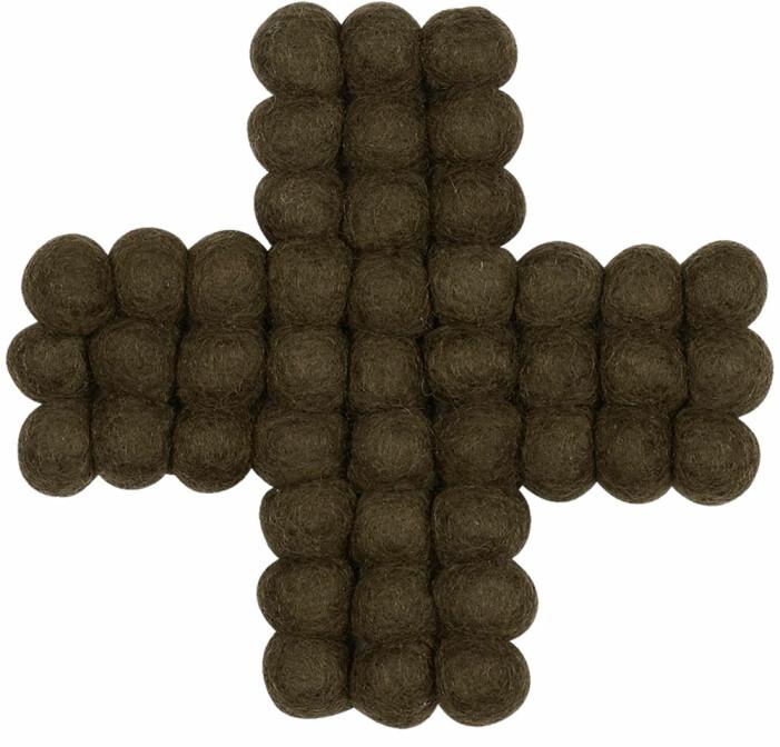 grytunderlägg i ull i form av ett kors