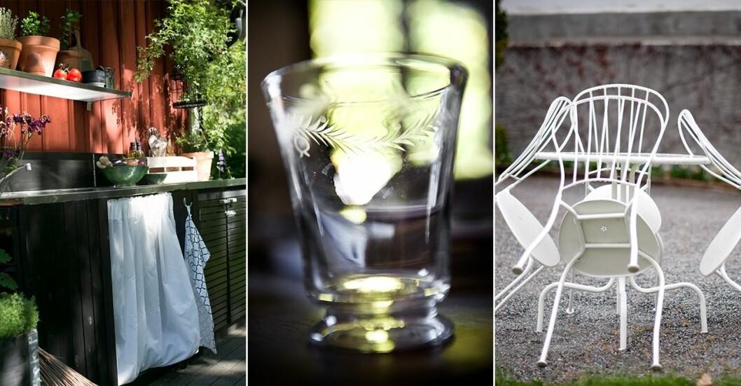 Utekök, antikt glas och cafébord i metall.
