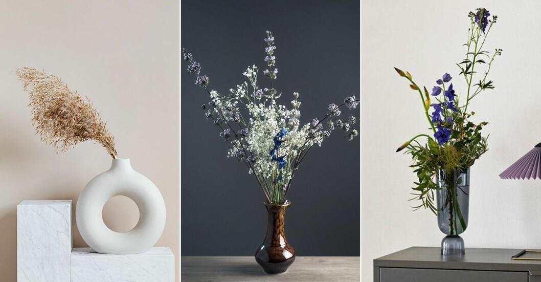 Vaser i olika material och former.