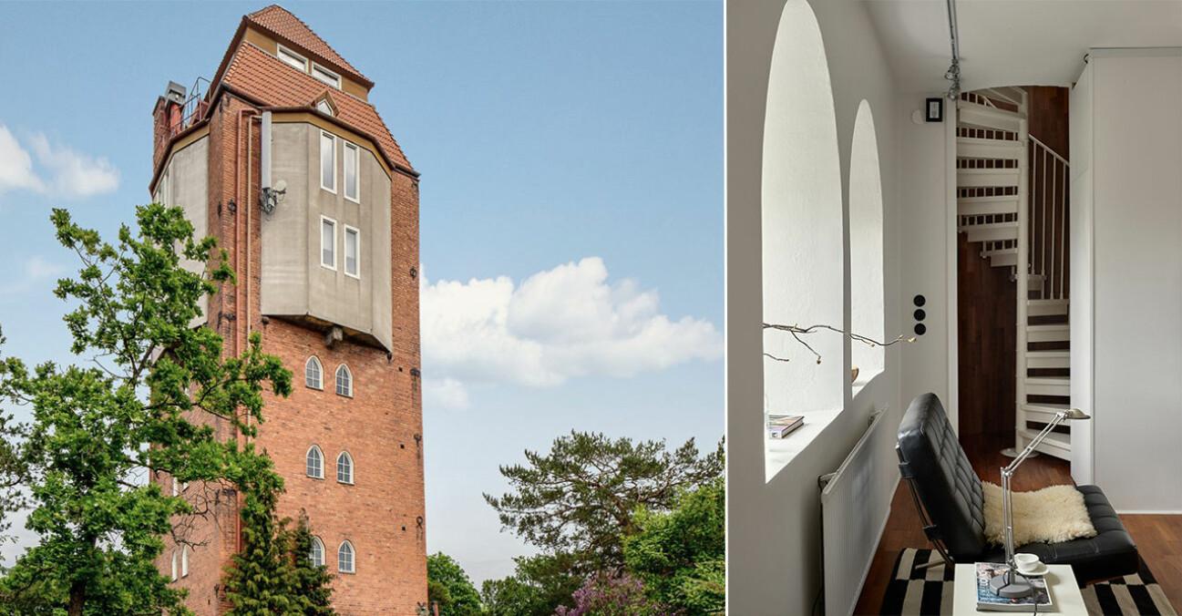 Nu kan du bo i ett vattentorn på Lidingö fyra till salu