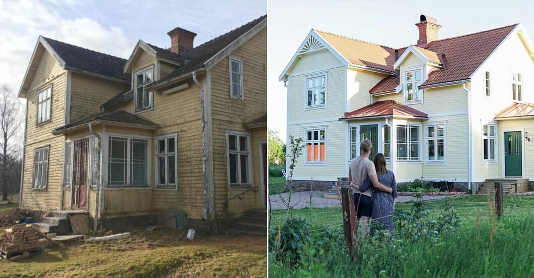 Sekelskiftesvillan i Småland fick sig ett rejält ansiktslyft när den renoverades av Lisa och Gusten.